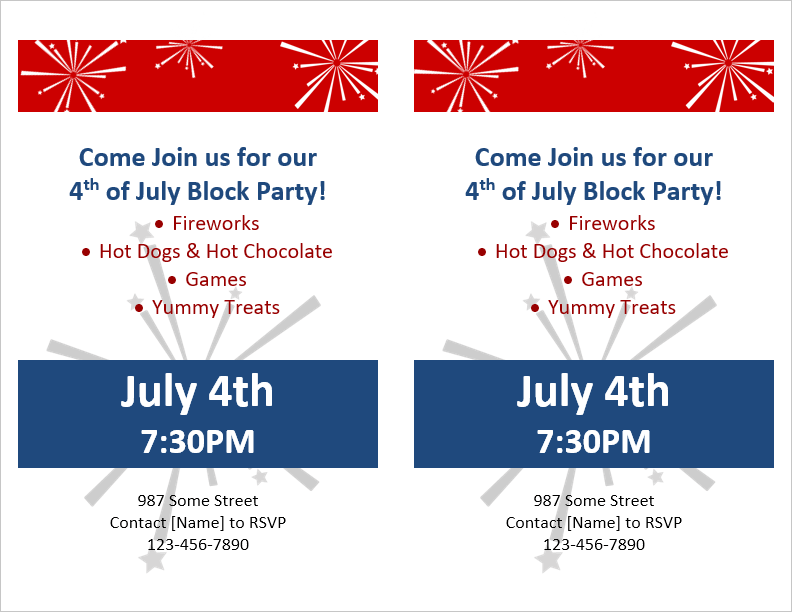 Block party invitation template for Templates by vertex42 com