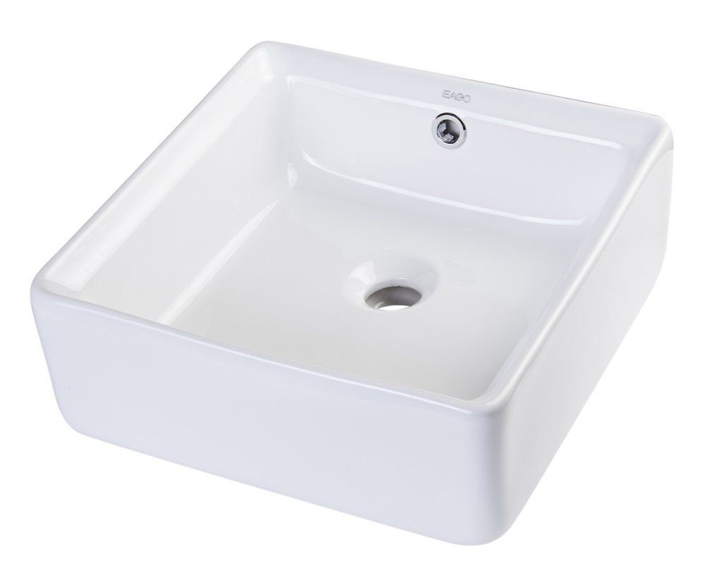 Eago 16 Above Mount White Round Porcelain Bathroom Sink W Overflow Ba129 Showroom Sinks Bathroom Basin Porcelain Bathroom Sink Sink
