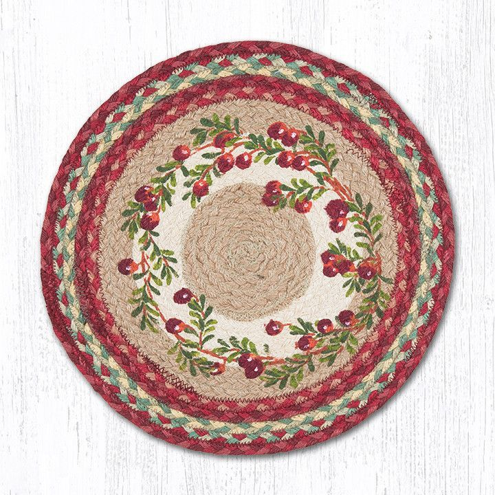 Pm Rp 390 Cranberries Round Placemat Placemats Jute Round Rug Braided Rugs