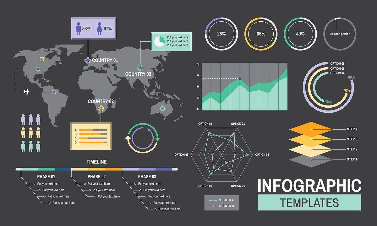 Infographic templates progress analysis charts graph illustration ...