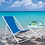 Our selection of Sutton Bridge folding sling beach chairs boast aluminum frames, fade and bleach-resistant Sunbrella fabric, stainless steel hardware, and rubber feet to prevent slipping and scuffing.  http://www.patiostore.com/backyard/beach-and-folding-chairs-sutton-bridge-folding-sling-beach-chairs-c-386_677html