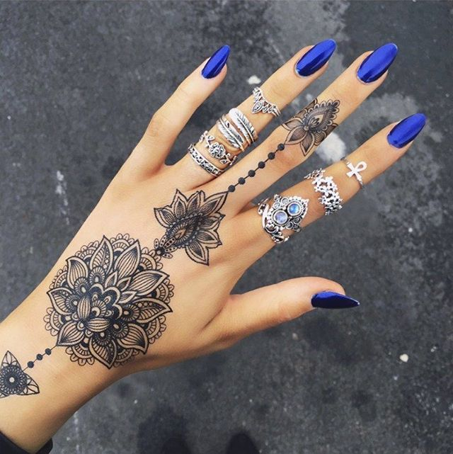 Blue Henna Tattoo: Finger Tattoos, Hand Tattoos For Women, Tattoos