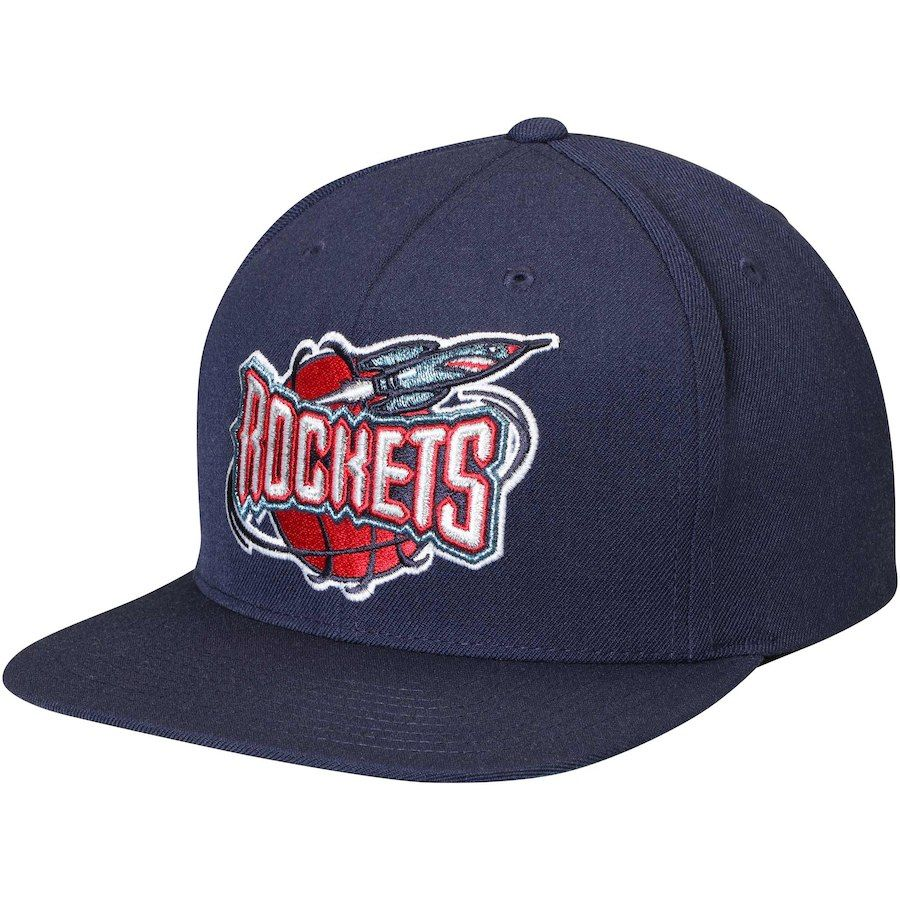 c884431f55e Men s Houston Rockets Mitchell   Ness Navy Hardwood Classics Wool Solid 2  Adjustable Hat
