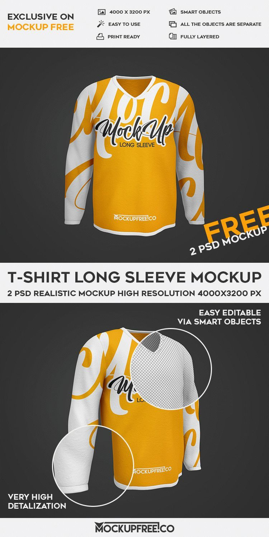 Download T Shirt Long Sleeve 2 Free Psd Mockups Download Mockup Camiseta Camisetas Longas Camiseta