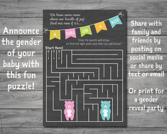 gender reveal puzzle  instant download  jpeg  gender