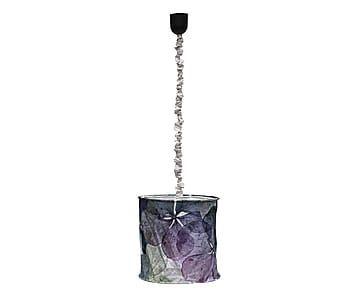 Lampada a sospensione in cotone Foglie multicolor, 35x30x35 cm