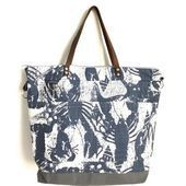 Ariel Large Market Tote beach Bag  Blue Lobster print made in the USA by Darbariel