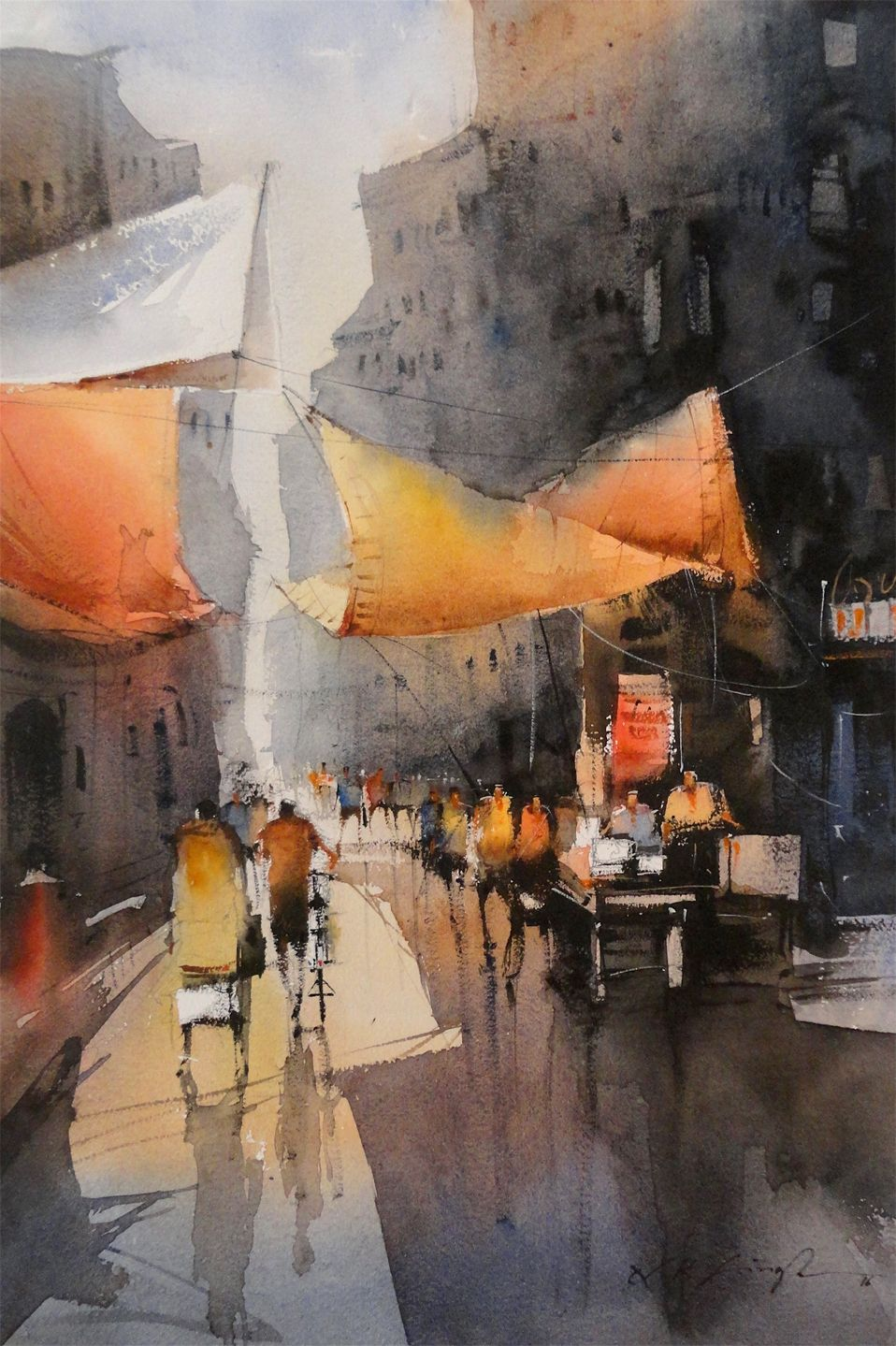 Indian Street Watercolor Painting Cityscape Painting Online Art