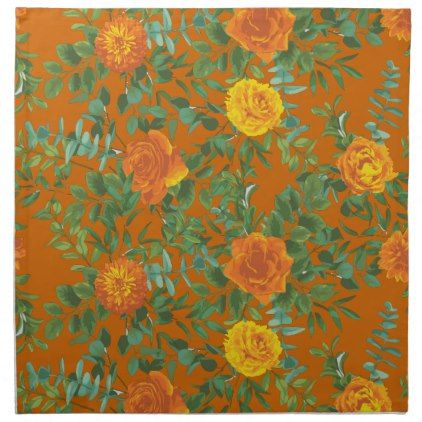 Orange & Rust Fall Peony & Rose Floral Wedding Cloth Napkin | Zazzle.com #clothnapkins