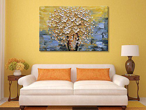 Amazon.com: Seekland Modern Textured Wall Art Hand Painted Yellow ...