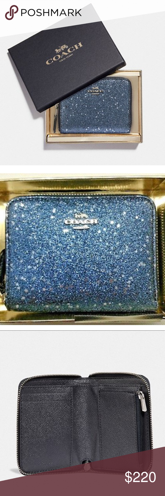 8938240e29a Coach small zip around star glitter wallet F38693 Coach small zip around  Midnight blue silver sparkle