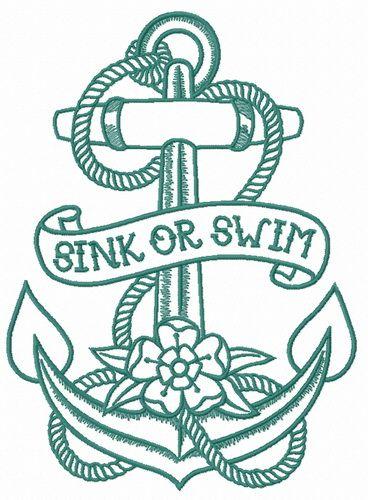 Sink Or Swim 3 Embroidery Design Nautical Tattoo Tattoo Sleeve Men Black And Grey Tattoos