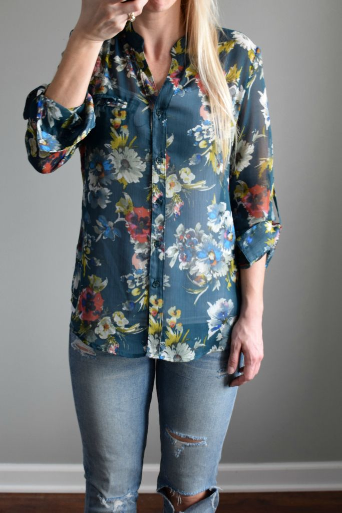 Kut from the Kloth Sinclaire Button Front Blouse. Love the colors/pattern  of this shirt. Please NO distressed jeans.
