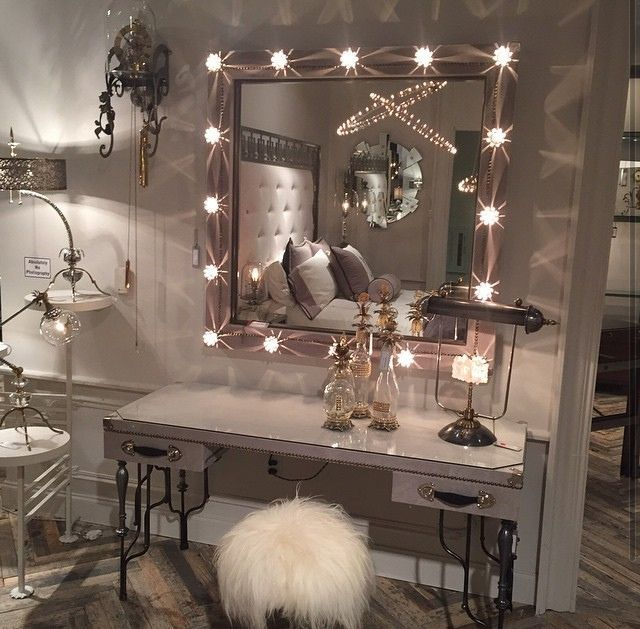 makeup vanity with mirror and chair. l home accessory mirror lights fur chair silve frame room makeup  vanity bedroom For Ali Bux Help me find this table Decor Inspo