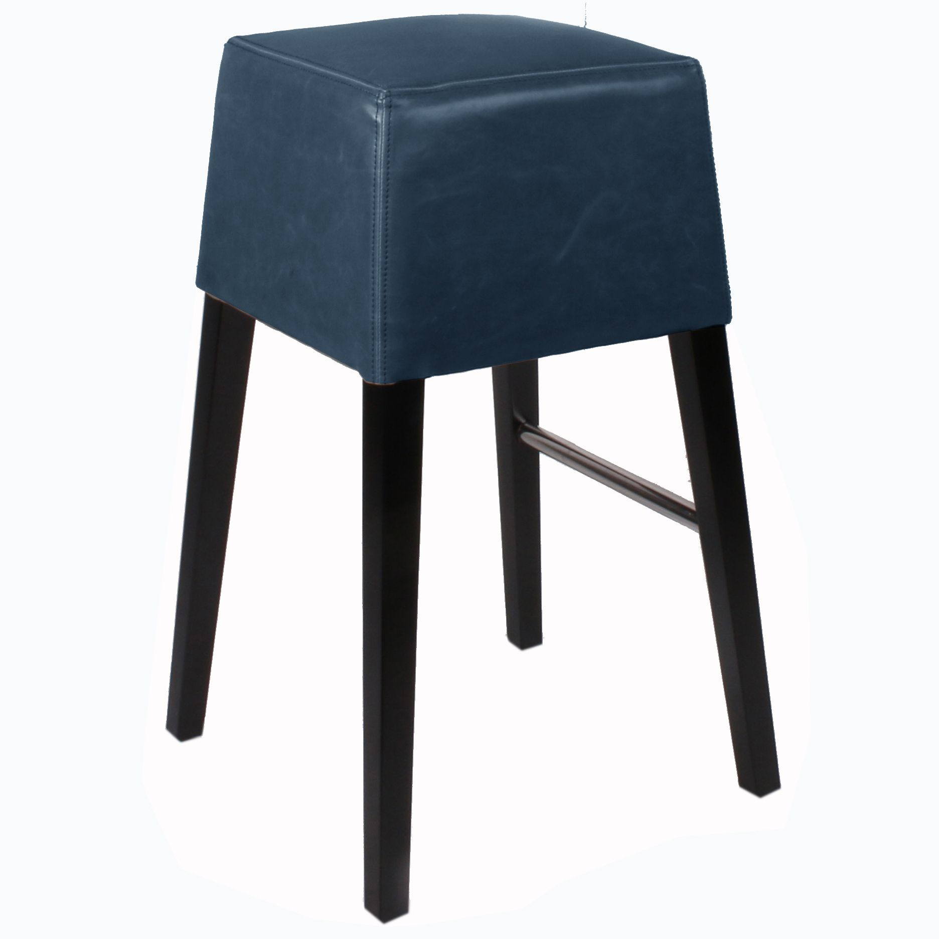 Aubin Bonded Leather Bar Stool Black Legs, Vintage Blue - NPD ...