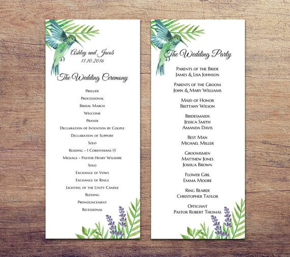 Destination Wedding Program Diy Green And Blue Exotic Tropical Printable Beach Ceremony Programs Template 1w82