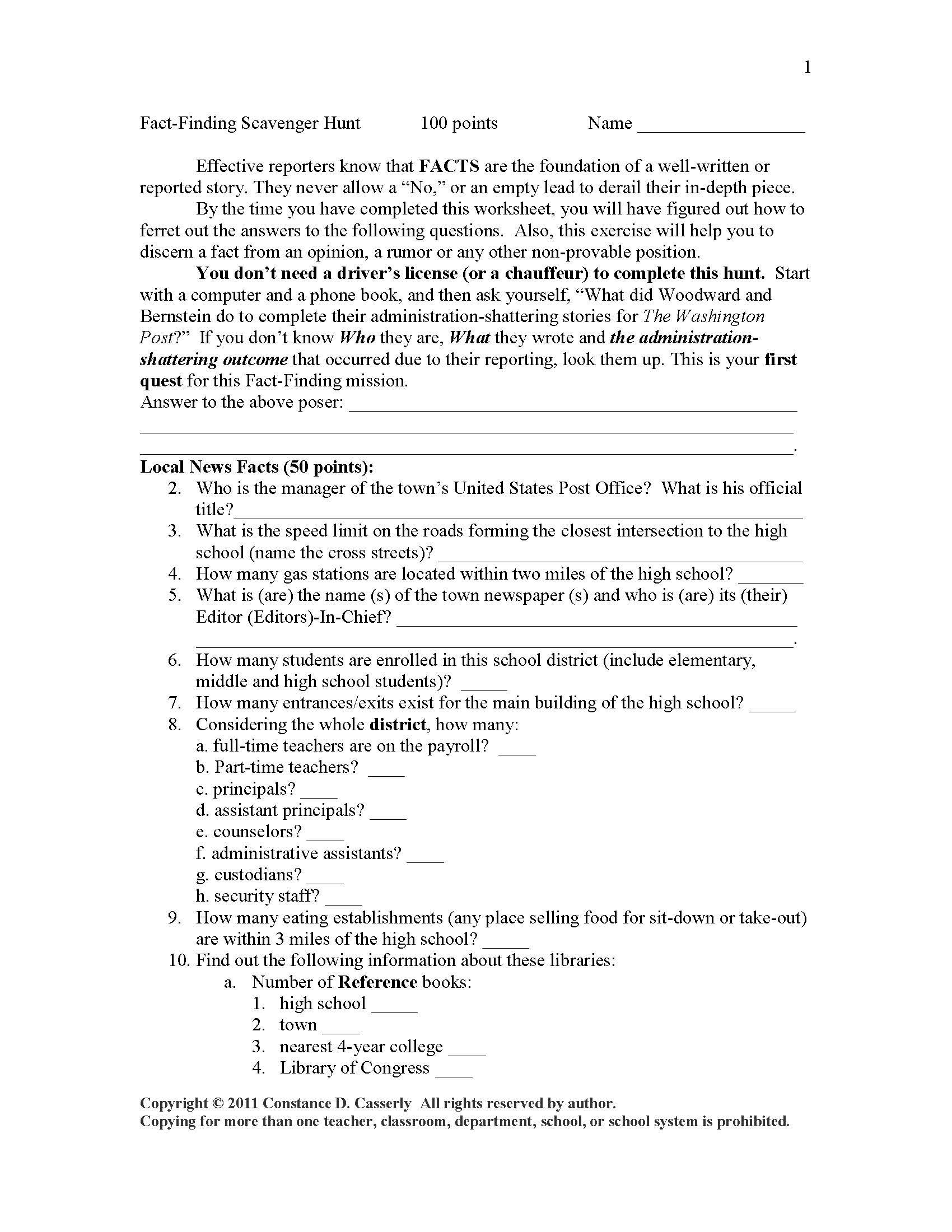 Teach Students How To Hunt Down Material For Articles With This Fact Finding Scavenger Hunt