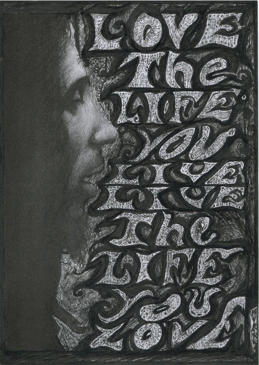 "Bob Marley ""Love the Life you live"" black and white"