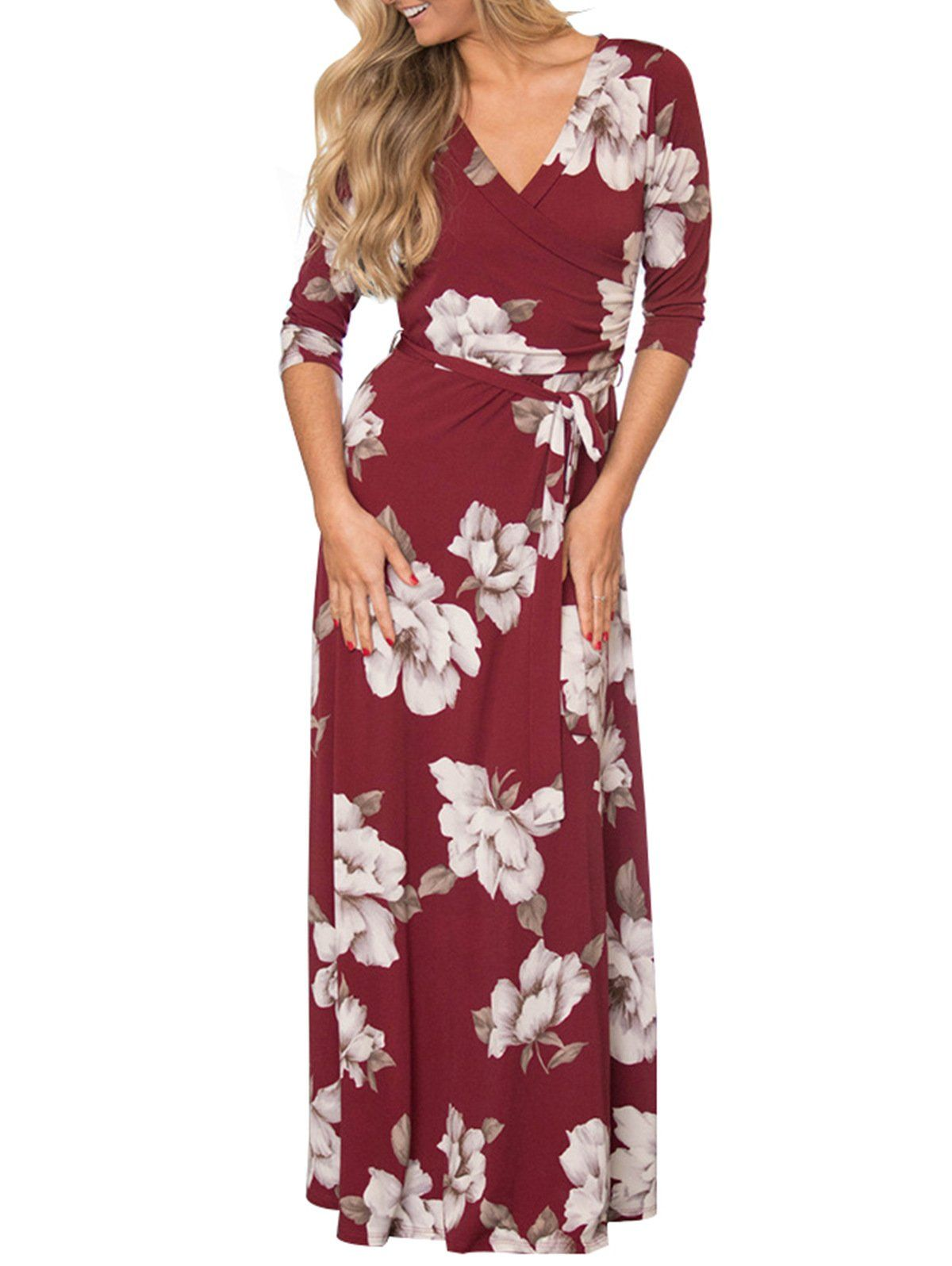 Temofon Womens Summer Floral Faux Wrap Maxi Dresses Vneck 3 4 Sleeve Long Beach Party Bohemian Dress Wine Red S Learn More At The Photo Link This Is An Aff [ 1596 x 1200 Pixel ]