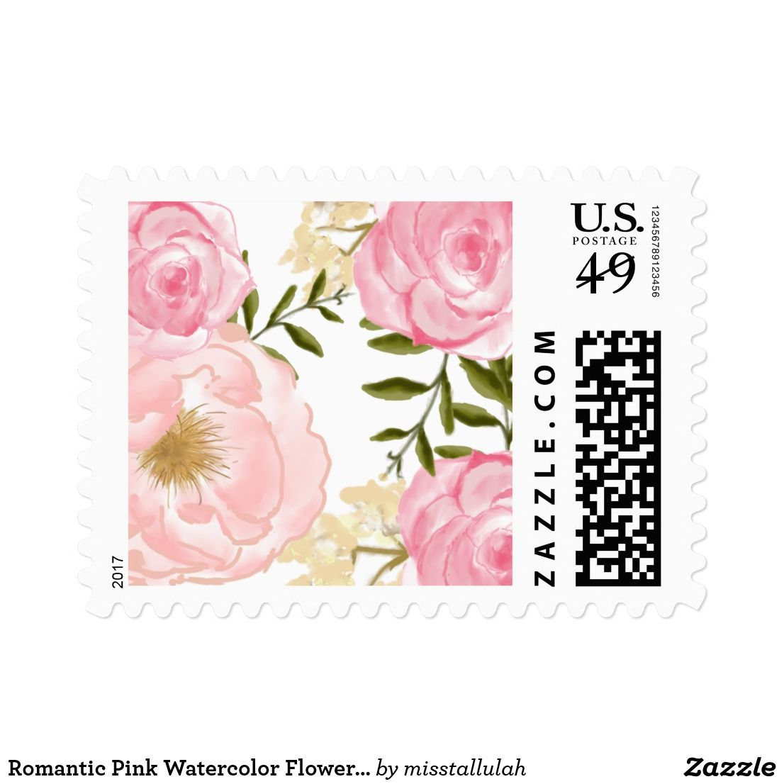 Romantic Pink Watercolor Flowers Peonies & Roses Postage   Perfect ...