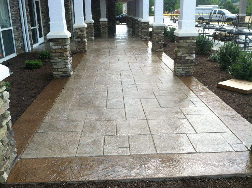 Stamped Concrete Patterns Patio Traditional With Ashlar Border
