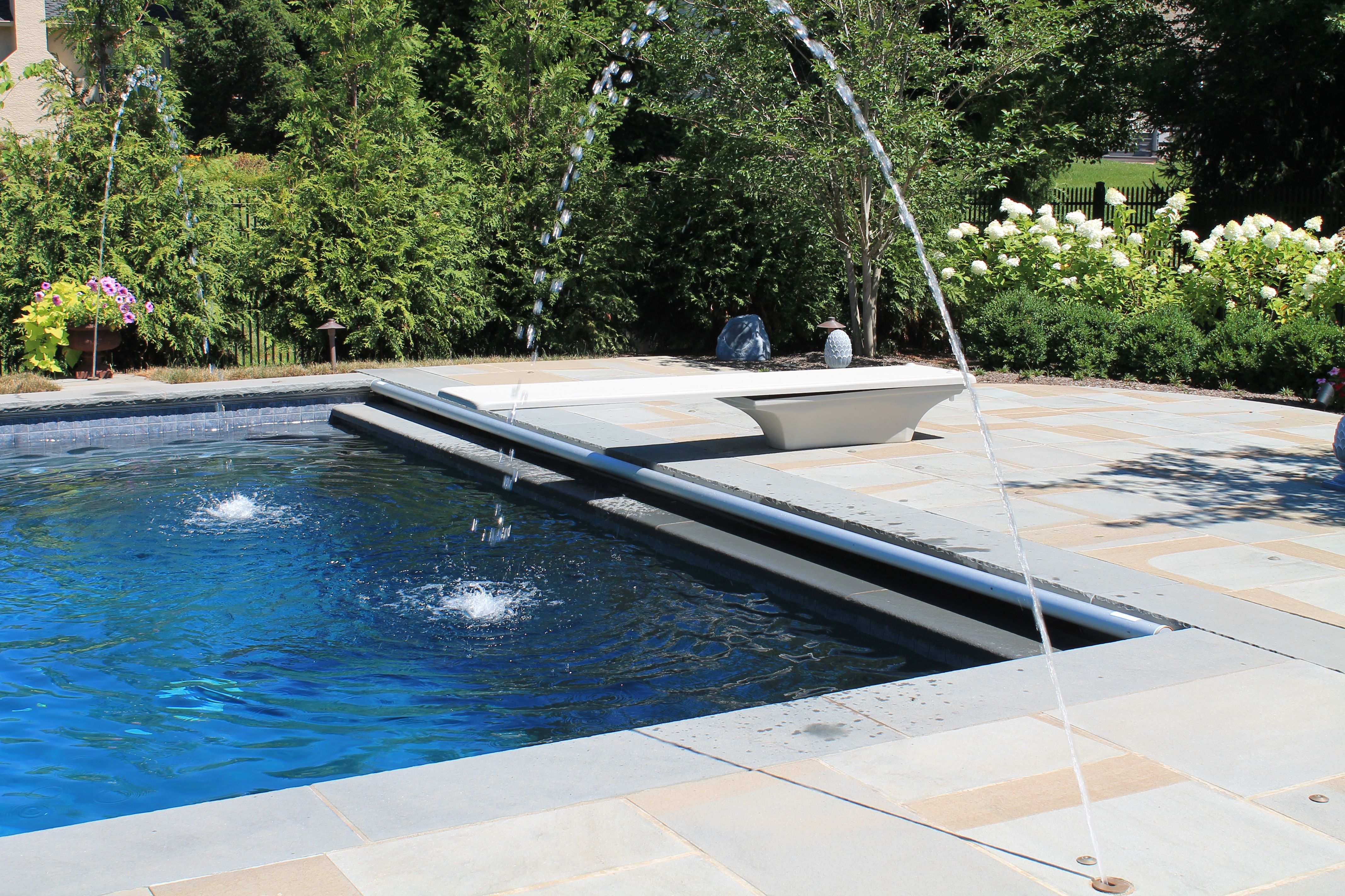 Custom Swimming Pool With Auto Cover And Roman Fountains