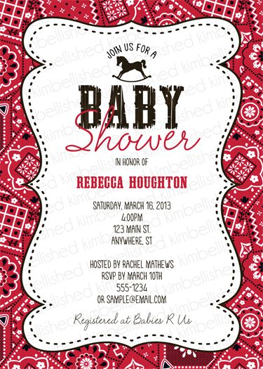 Western Red Bandanna Baby Shower Invitation Party Cowboy