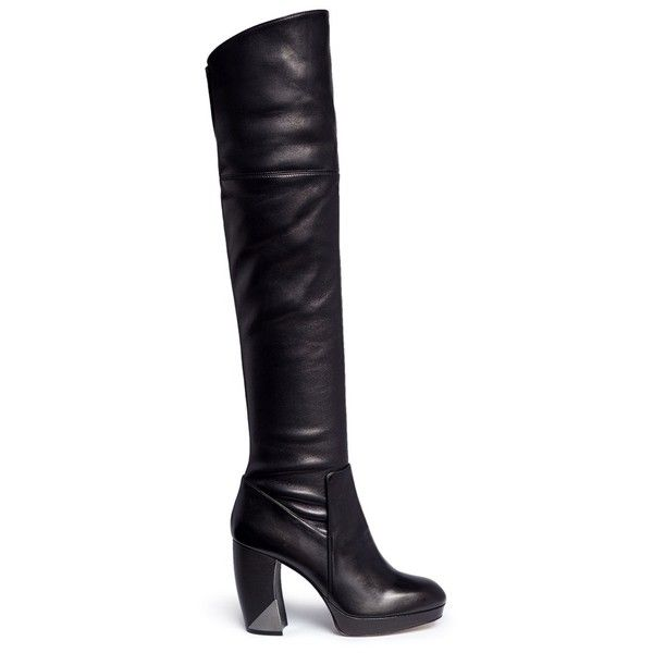 Aperlai 'Aimee' stretch leather thigh high boots (€1.455) ❤ liked ...