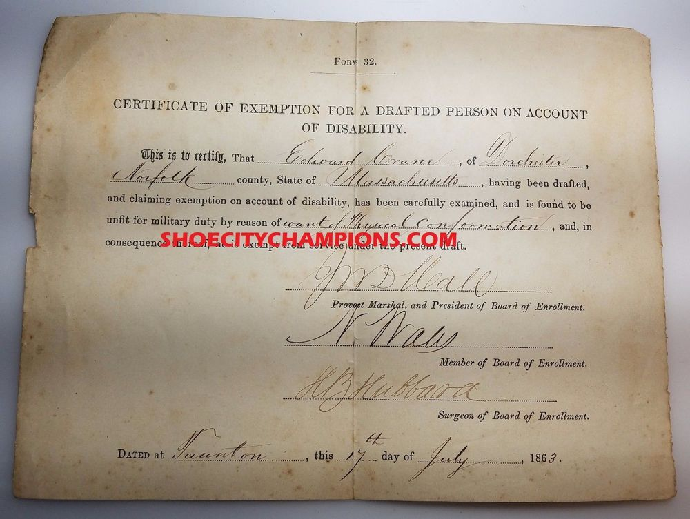 1863 certificate of exemption for a drafted person on account of ...