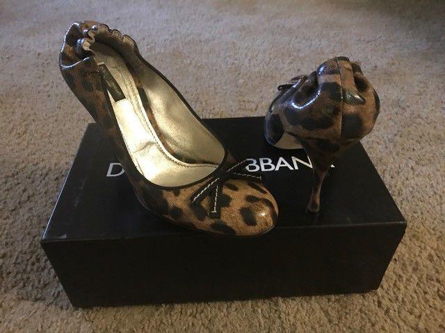 Dolce & gabbana Leopard Print Patent Leather Heels 41/10