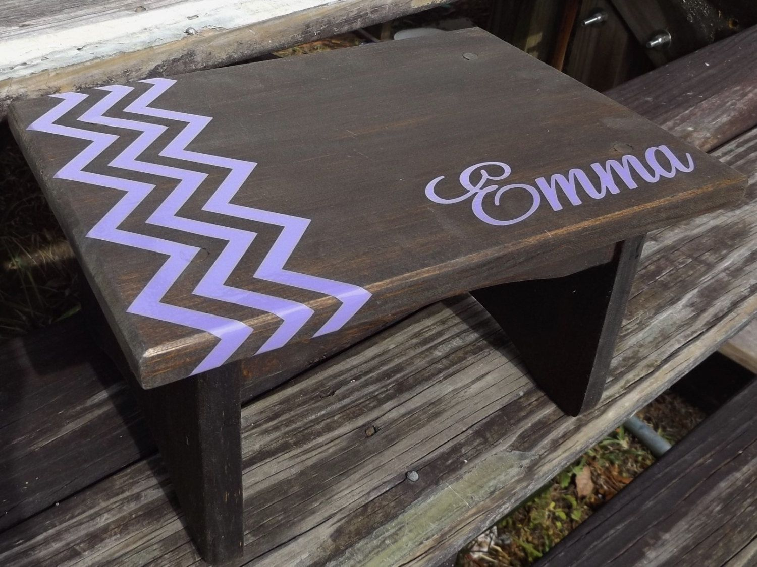 Outstanding Kids Toddler Wooden Personalized Step Stool Walnut Stain Caraccident5 Cool Chair Designs And Ideas Caraccident5Info