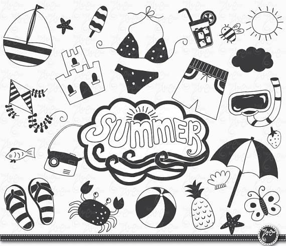 Hand Draw Summer Summer Clip Art Pack Summer Clipart Nautical