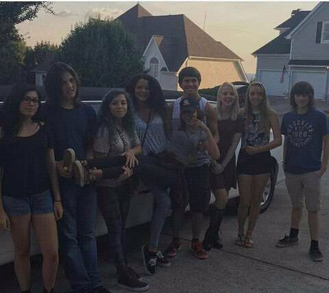 Chandler Riggs with his school friends.