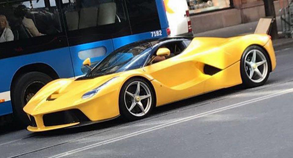 Zlatan Ibrahimovic Spotted In Stockholm Driving Yellow Laferrari Carscoops Zlatan Ibrahimovic Ferrari Laferrari Spotted