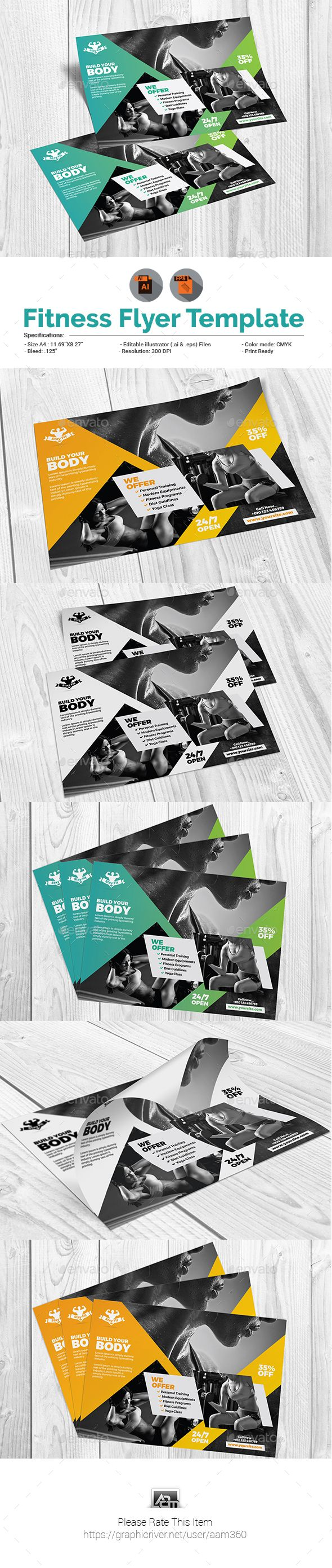 Fitness Flyer. Professional sports flyer template. #flyer #design #printDesign #sport #print #ad #ad...