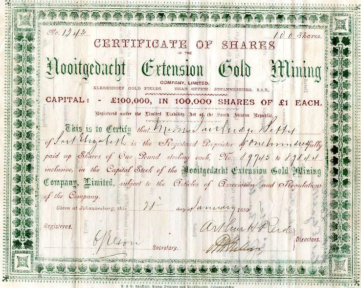 Nooitgedacht Extension Gold Mining, Johannesburg 1889 My stock - copy membership certificate llc template