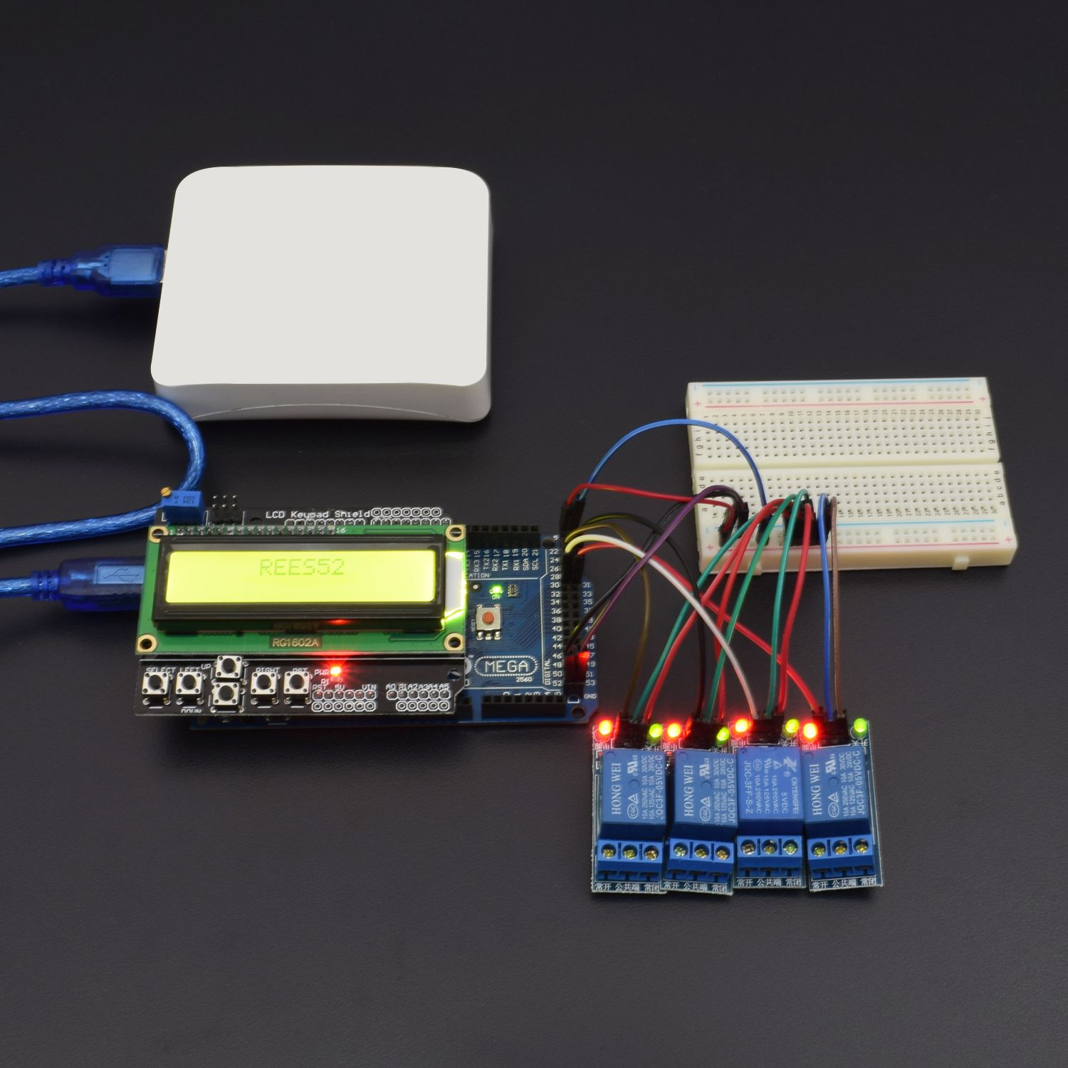 control 4 one channel 5v relay module with the help of lcd keypad shield  interfacing with arduino mega -kt786