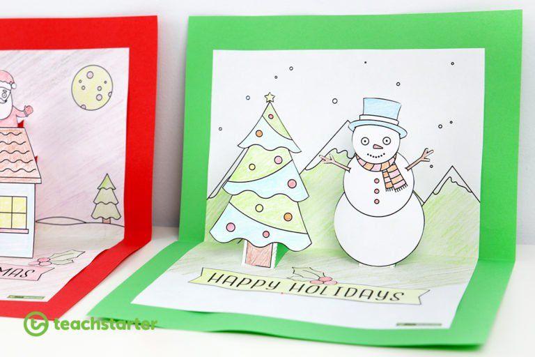 Christmas Pop Up Card Template Snowman Winter Teaching Resource Teach Starter Christmas Card Template Pop Up Christmas Cards Pop Up Card Templates
