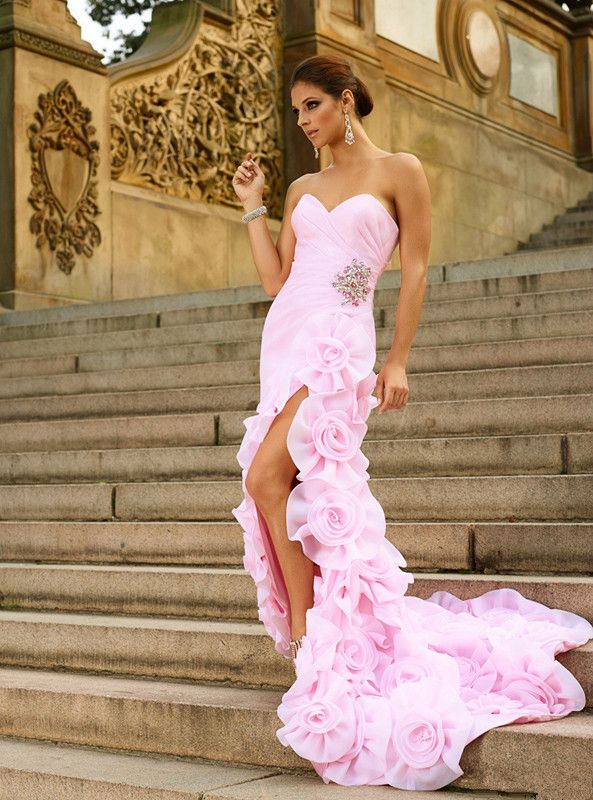Sexy Hot Pink Organza Sweetheart Slit Prom Mermaid Dress Court Train ...