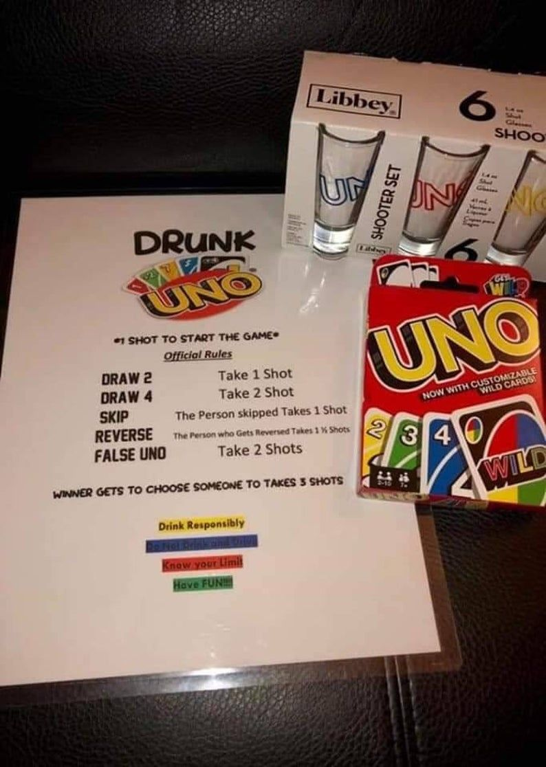 Drunk Uno Game with 10 Shot Glasses /& Uno Cards