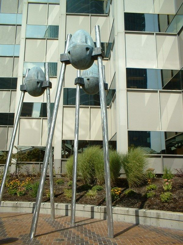 Alien bipeds near the Bellevue Transit Center