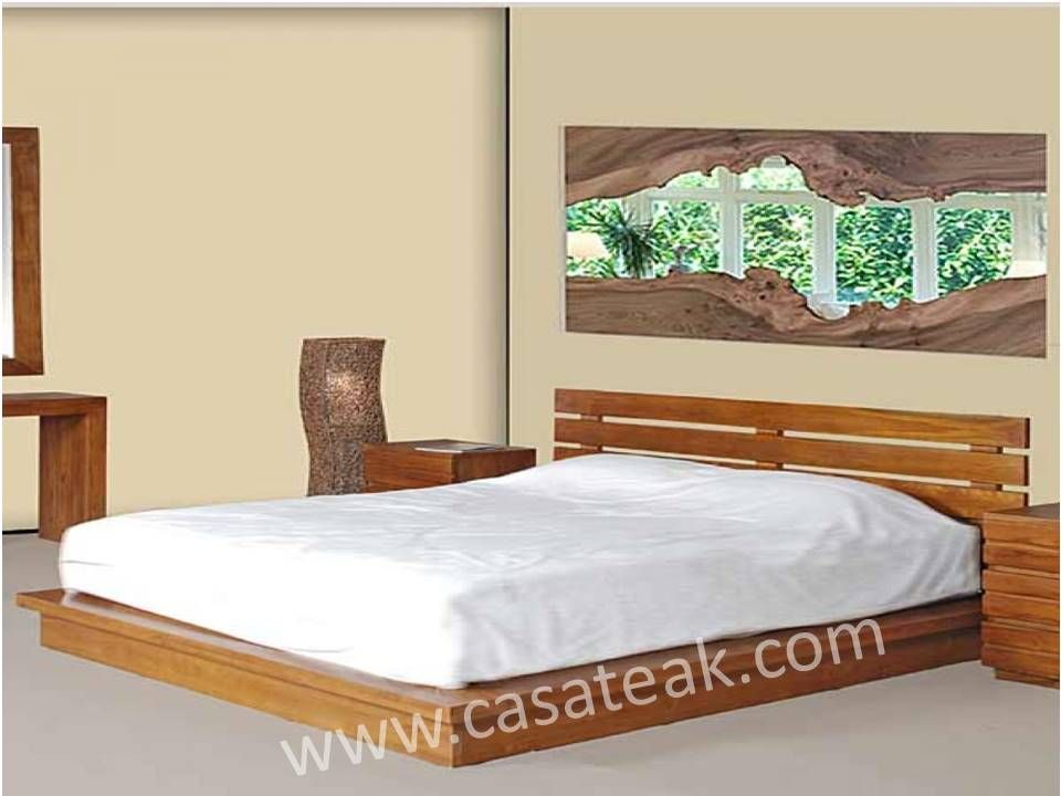 Marzu Queen Bed Teak Wood Bed Frame Shah Alam Bedroom Furniture