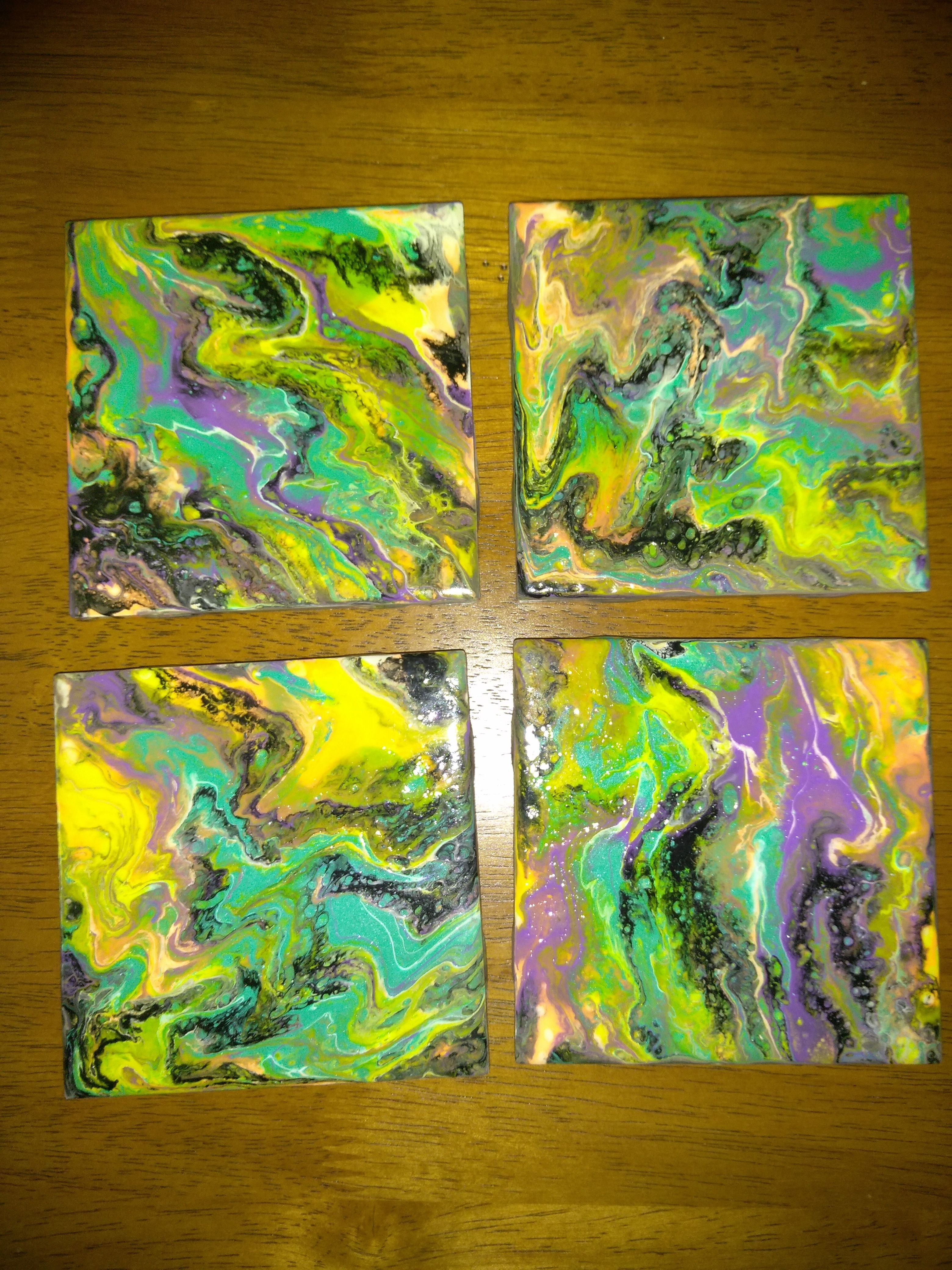 Set of 4 coasters 4x4 ceramic tiles pour painted in multiple colors set of 4 coasters ceramic tiles pour painted in multiple colors waterproof heat resistant up to 550 degrees for sale dailygadgetfo Choice Image