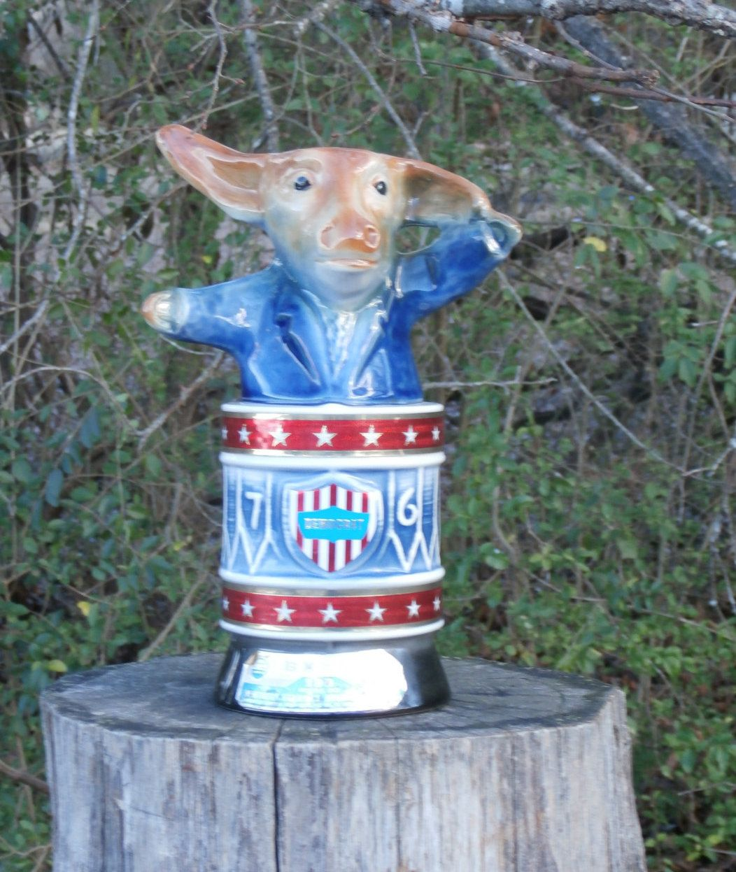 1976 Bicentennial Decanter Bottle, Democrat Donkey, Vintage Jim Beam Ceramic Figural