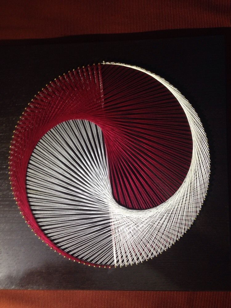 string art portrait yin yang red white