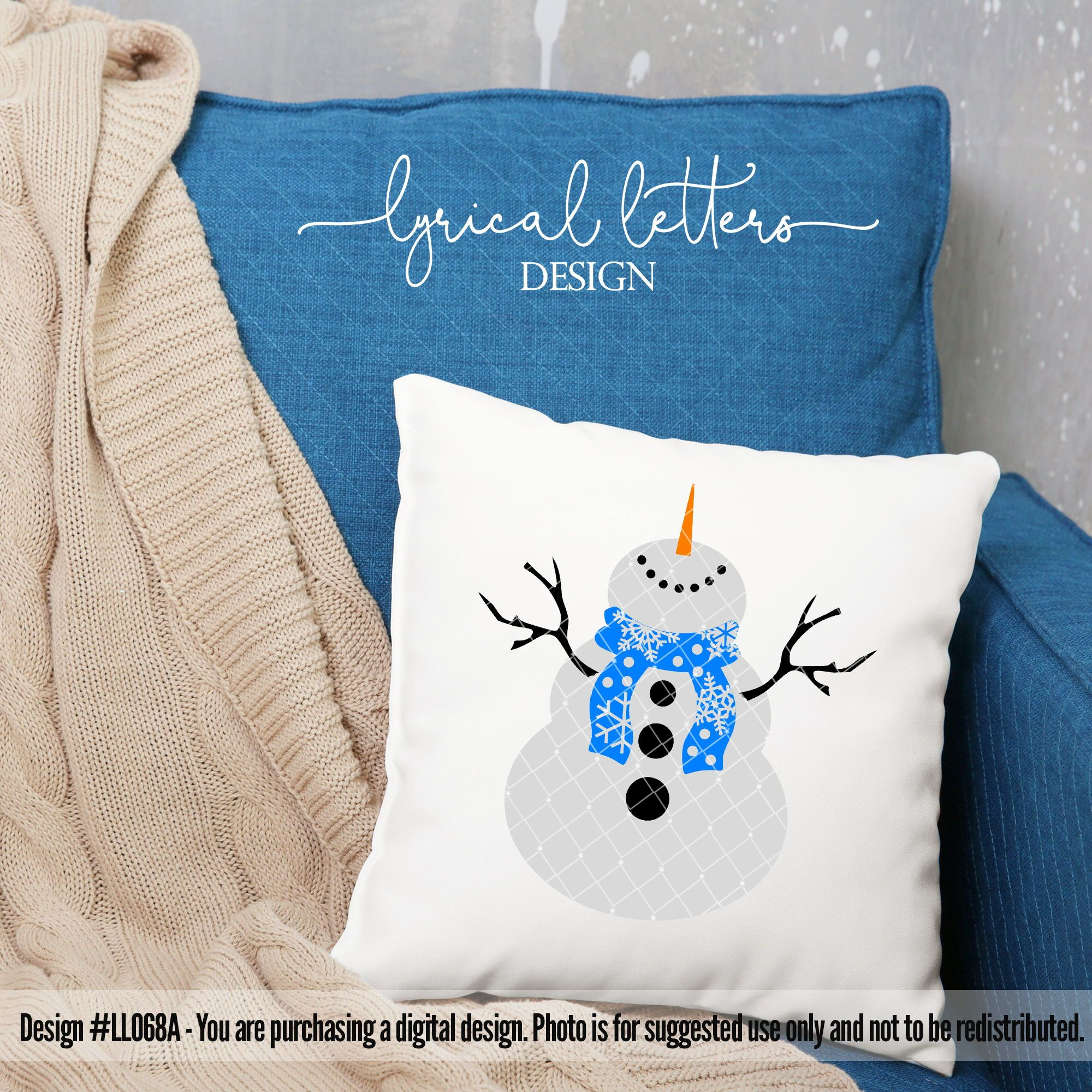 Snowman with Scarf SVG Cut File LL068A Look what YOU can