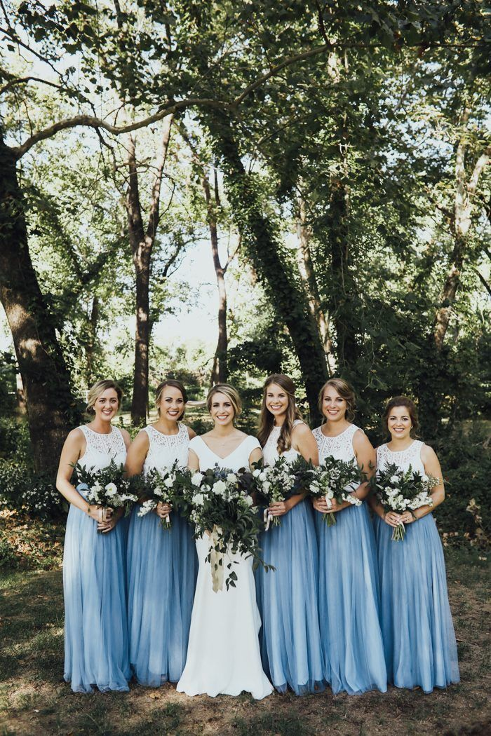 Bridesmaid dresses same style different colours of paints