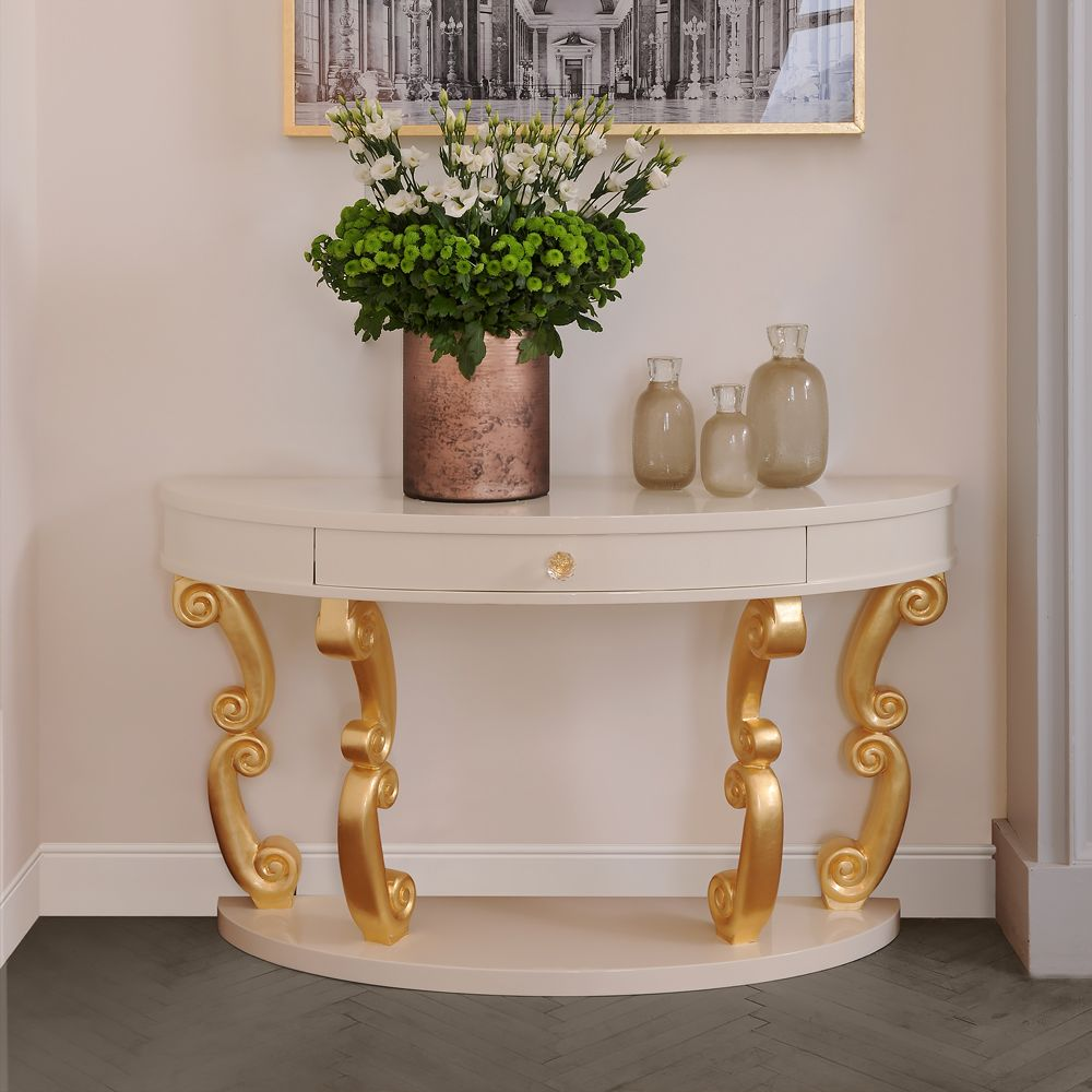 Modern Demi Lune Ivory Console Table