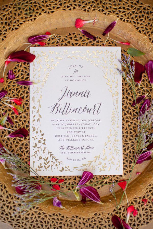 bridal shower invitations registry etiquette%0A Ros   Inspired Bridal Shower