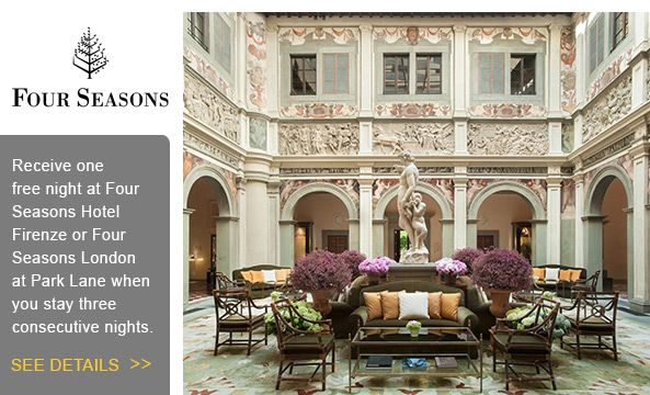 Fourth night free at Four Seasons #LandingsTravel #FourSeasons #Travel http://www.landingstravel.com/blog/travel-specials/complimentary-night-in-london-and-florence-at-the-four-seasons/